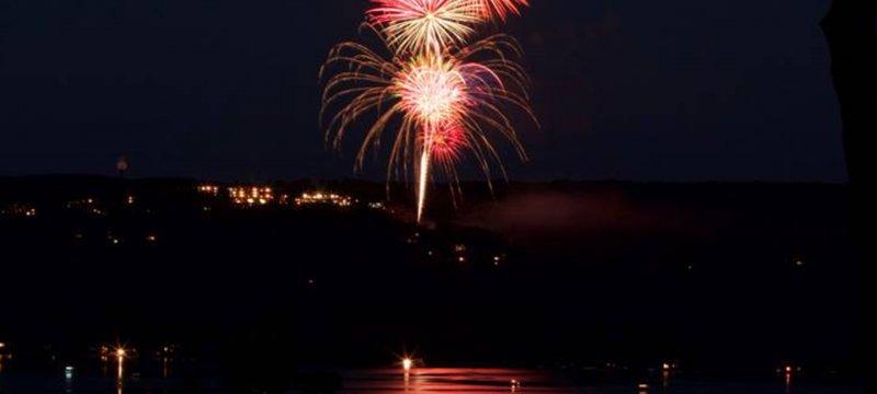 Fireworks over Summit Village during Shanty Creek's Fireworks Festival