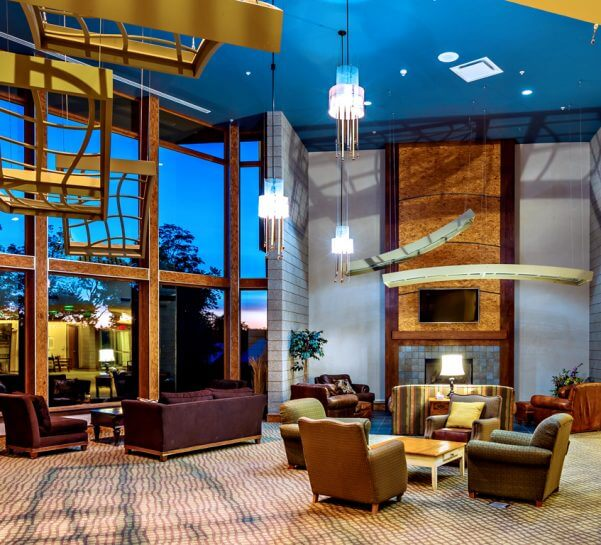 The Lodge at Cedar River lobby