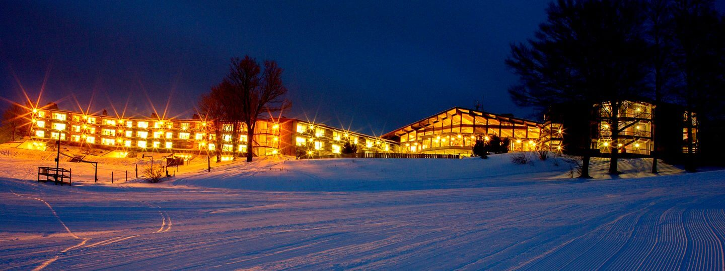 Lakeview Hotel Exterior from the Summit Mountain Ski Slopes
