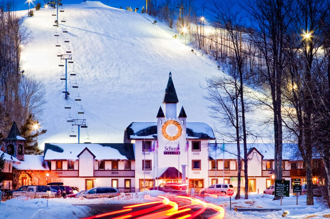 Winter exterior shots of Schuss Mountain Lodge