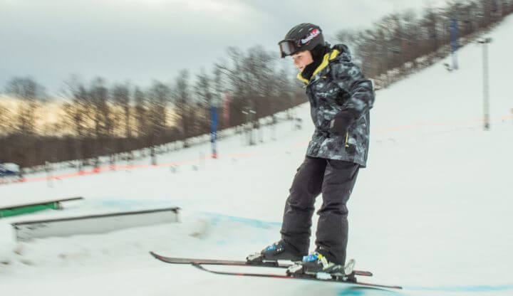 child on low rider terrain park