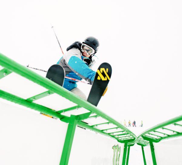 Skier in Purple Daze Terrain Park