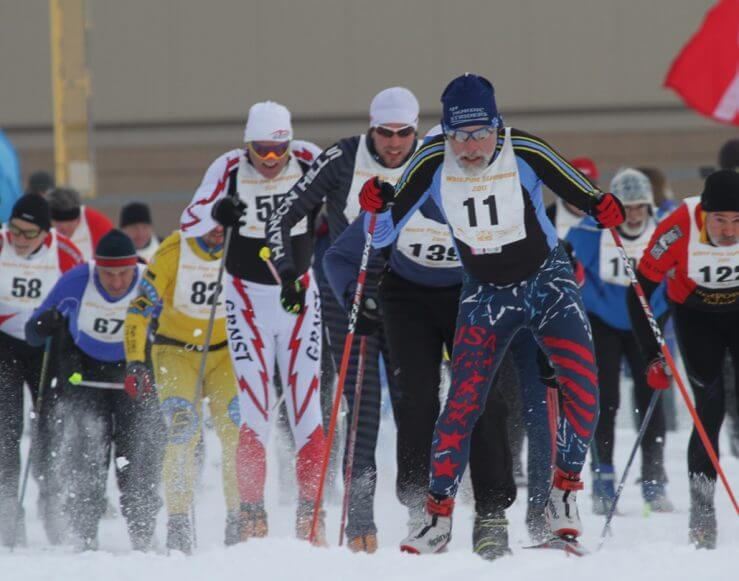 White Pine Stampede skiers at start