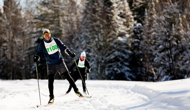 Two nordic skiers during the white pine stampede