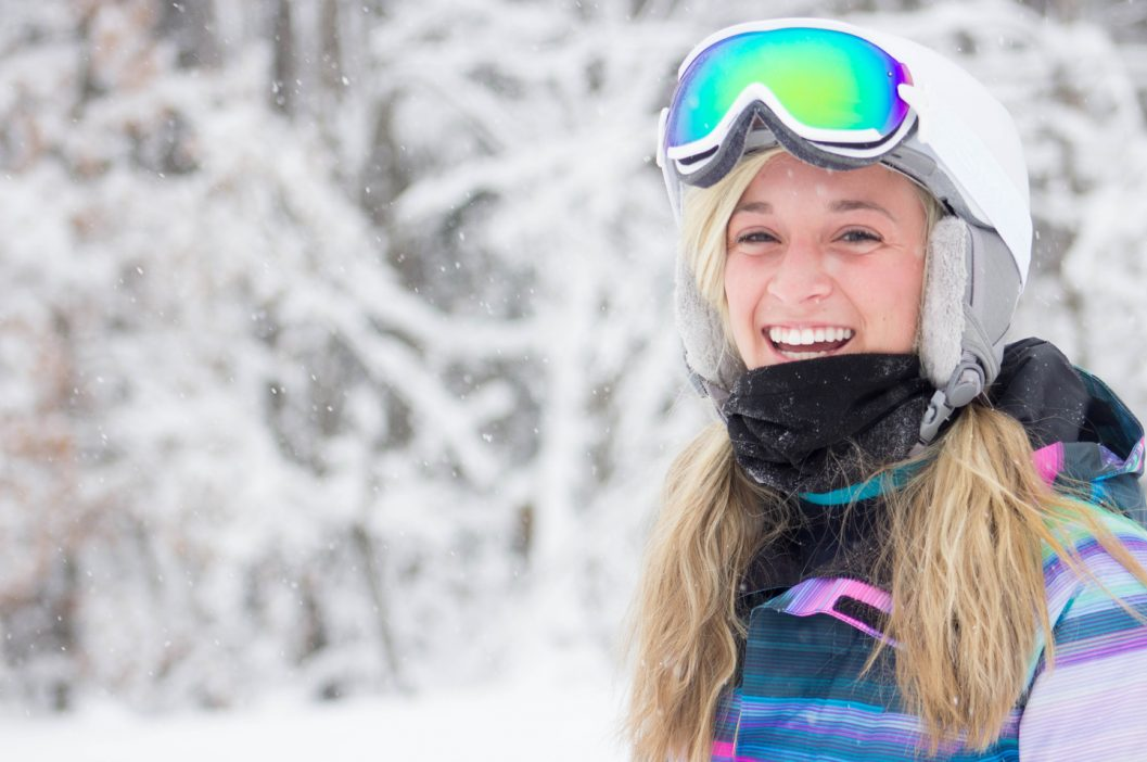 Girl Snowboarder smiling