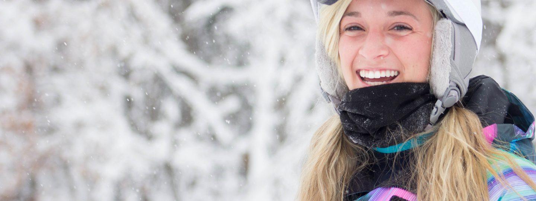 Girl Snowboarder smiling