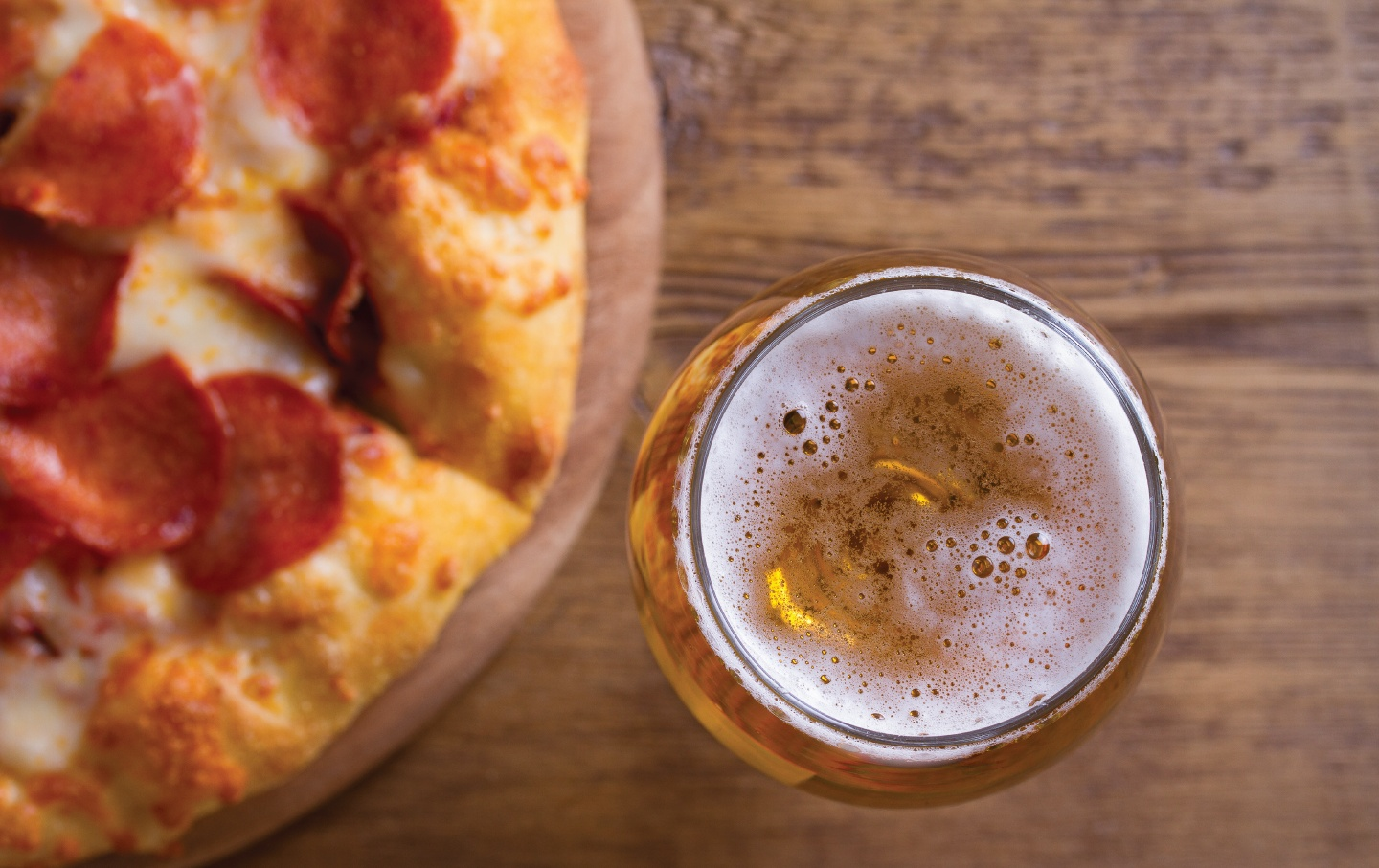 Pizza and a pint of beer