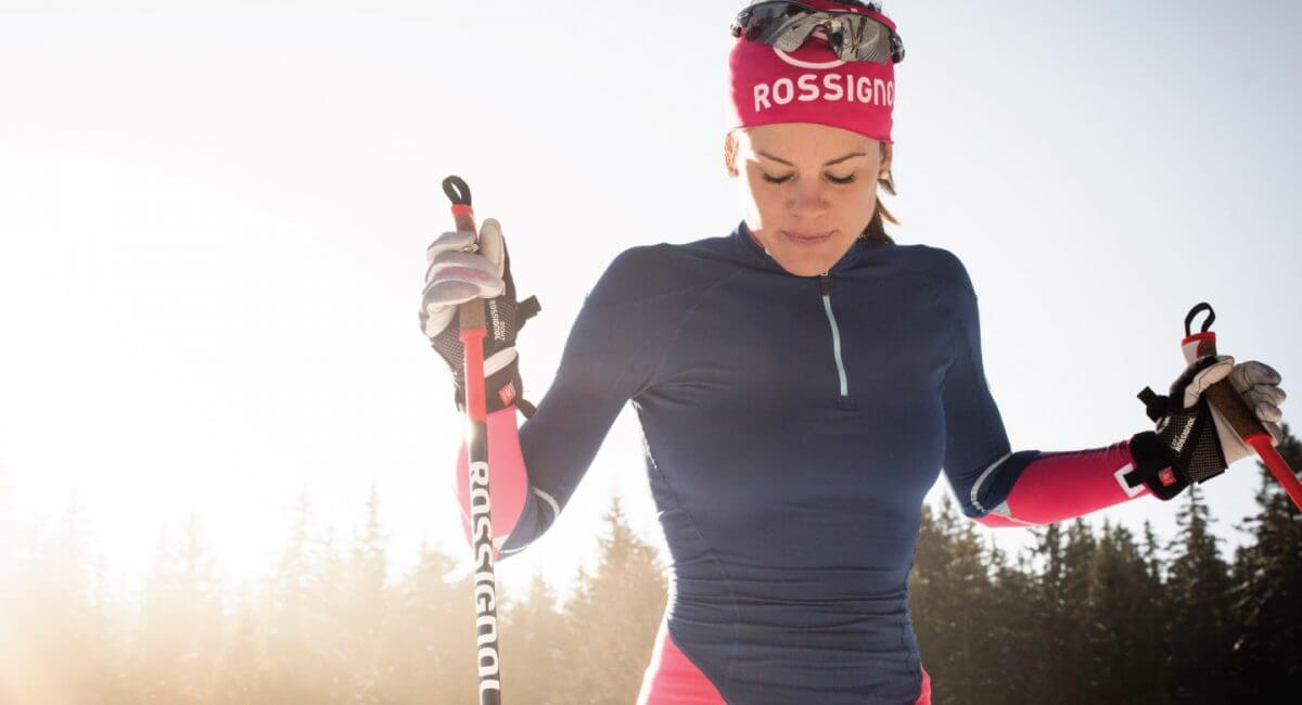 Woman nordic skiing