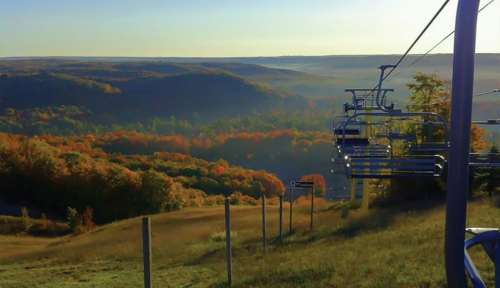 Schuss Mountain autumn colors chairlift rides