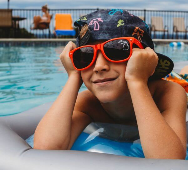 Child on Raft in Lakeview Hotel Pool