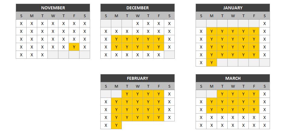2021-22 Midweek Pass Availability Calendar